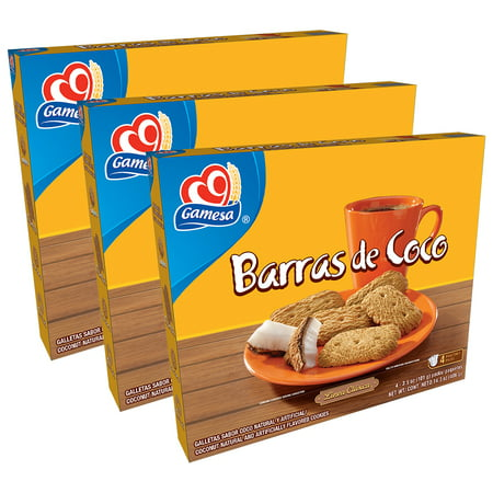 Elegance Cookie Gift Box ((3 Pack) Gamesa Barras de Coco Coconut Cookies, 4 Packs, 14.3 oz)