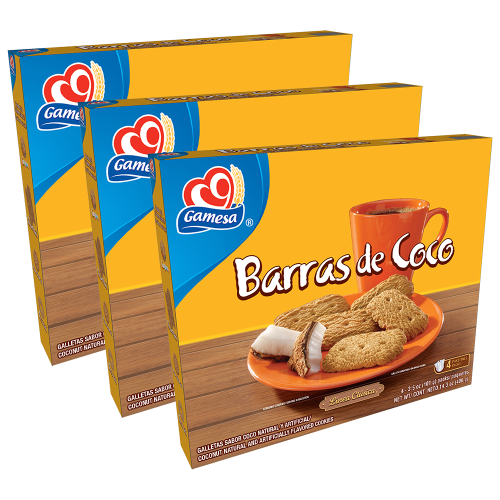 (3 Pack) Gamesa Barras de Coco Coconut Cookies, 4 Packs, 14.3 oz Box