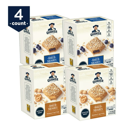 Quaker Baked Squares, Soft Baked Bars, Peanut Butter & Blueberry Variety Pack, 5 Bars (Pack of