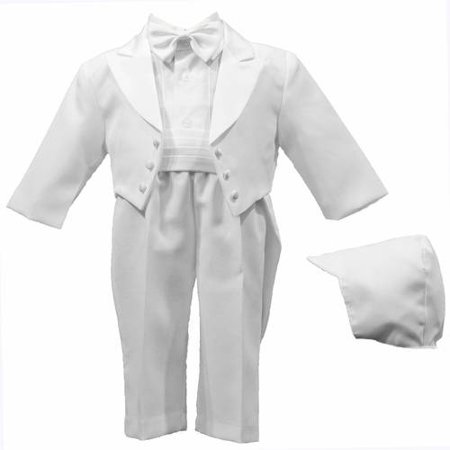 Christening Baptism Newborn Baby Boy Special Occasion Real 5 Pc Tuxedo Outfit Suit w/ Tails & Matching Hat