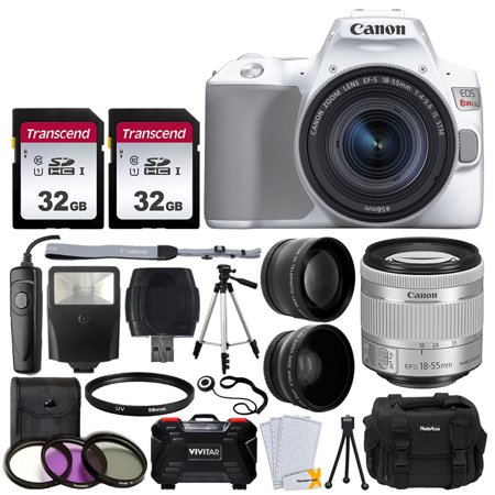 Canon Eos 1d Flash Memory - Canon EOS Rebel SL3 Digital SLR Camera (White) + EF-S 18-55mm f/4-5.6 IS STM Lens + 58mm 2X Professional Telephoto & 58mm Wide Angle Lens + 64GB Memory Card + DC59 Case + Tripod + Slave Flash + Remote