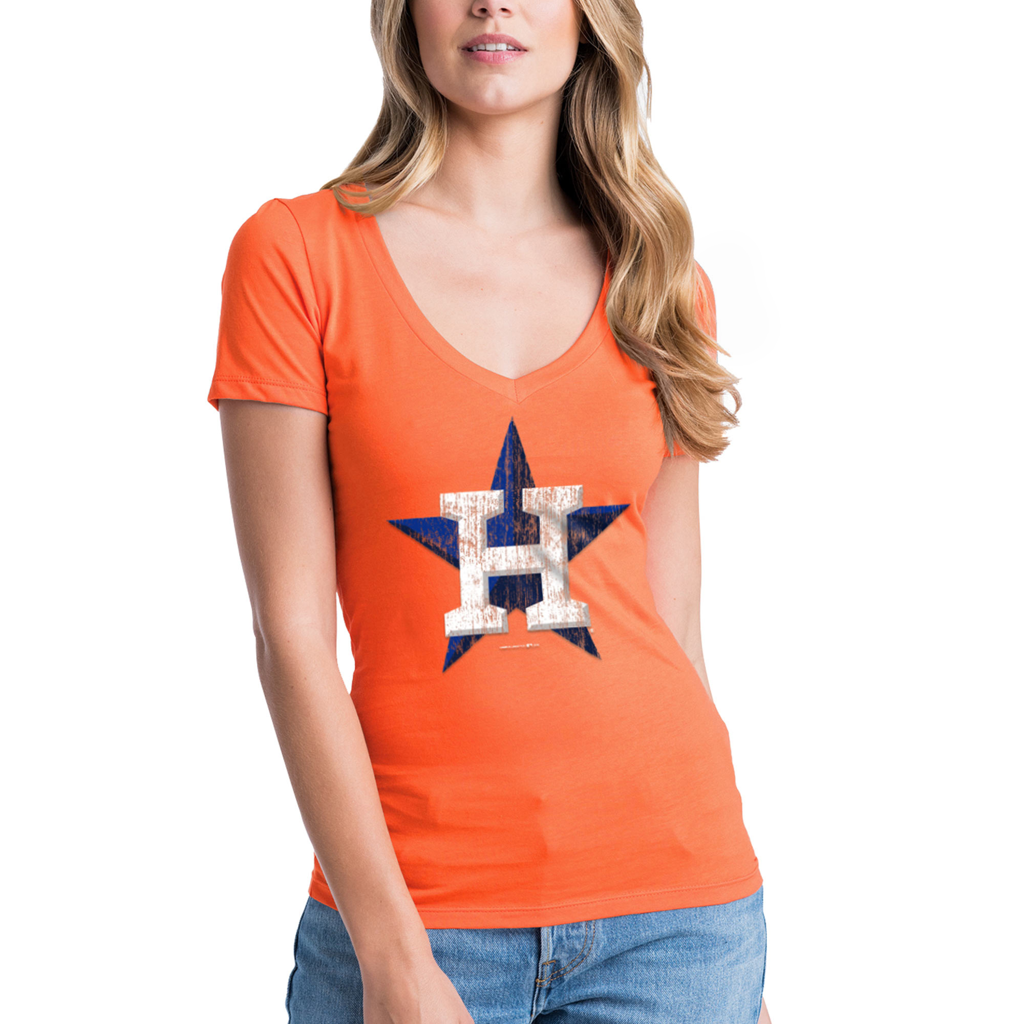 Women's New Era Orange Houston Astros V-Neck T-Shirt