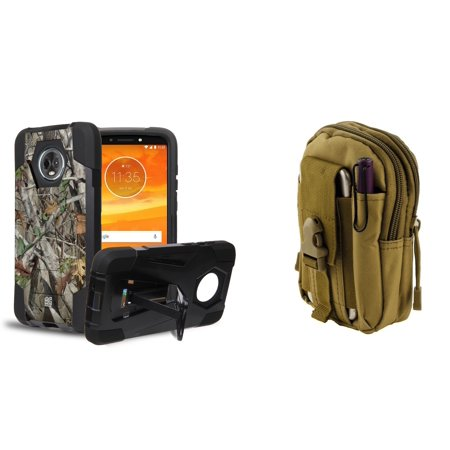 Slim Dual Layer Impact Resistant Kickstand Case (Tree Camo) with Khaki Tactical EDC MOLLE Waist Bag Holder Pouch and Atom Cloth for Moto E5