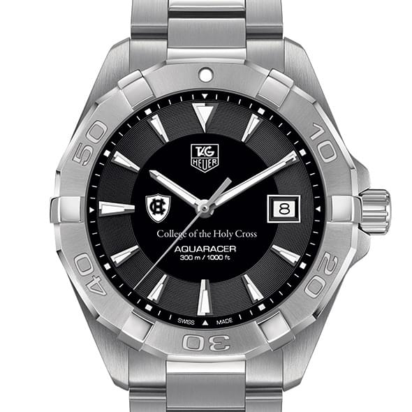 Holy Cross Men's TAG Heuer Steel Aquaracer with Black Dial by Tag Heuer