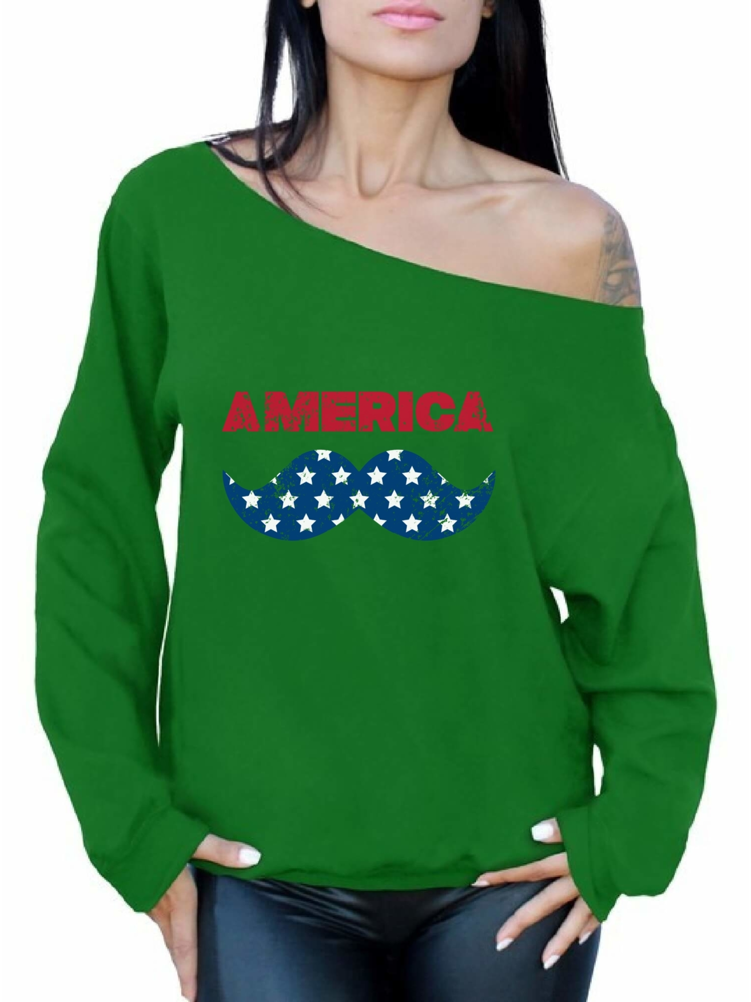 a2737a586f7c32 Awkward Styles Women s America Patriotic Mustache Graphic Off ...