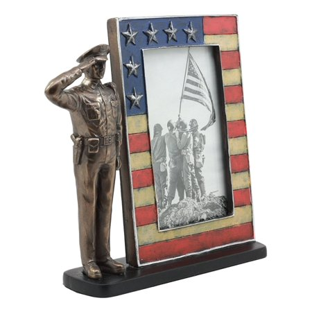 Ebros Civil Servant Police Officer Saluting Picture Frame Figurine Decorative Tabletop Picture Frame With Stars And Stripes US Flag - Flag Frames