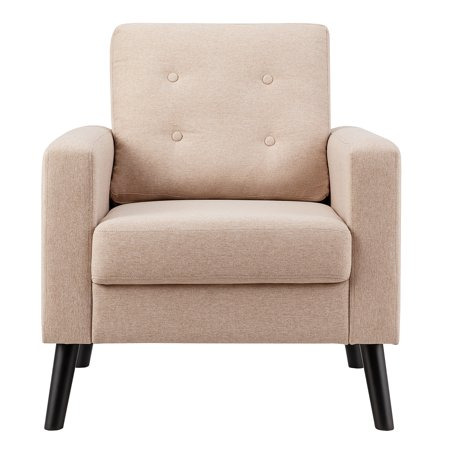 Costway Modern Tufted Accent Chair Fabric Armchair Single Sofa w/ Rubber Wood Legs Beige