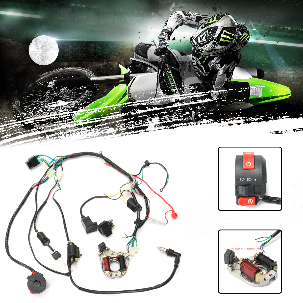 1 set wire harness wiring cdi assembly for motorcycleaccessorie 50 70 90 110cc 125cc atv quad coolster go kart