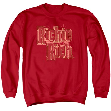- Richie Rich Harvey Comics Character Stacked Logo Red Adult Crewneck Sweatshirt