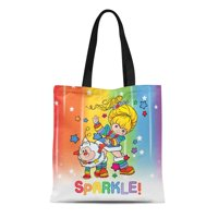 ASHLEIGH Canvas Tote Bag Colorful Sprite Classic Rainbow Brite and Twink Sparkle 80S Reusable Handbag Shoulder Grocery Shopping Bags