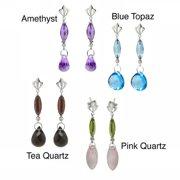 De Buman  10k White Gold Amethyst, Blue Topaz, Tea Quartz or Pink Quartz Gemstone with Diamond Earrings (H-I, SI3)