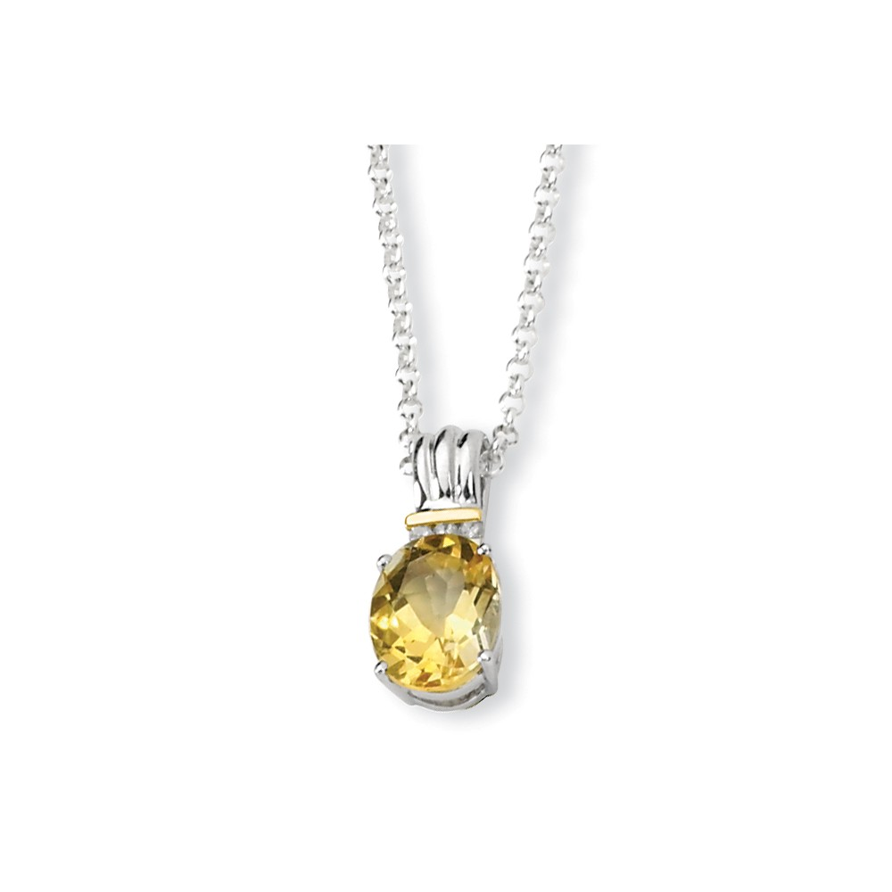 Sterling Silver & 14K Citrine and Diamond Necklace by Jewels By Lux