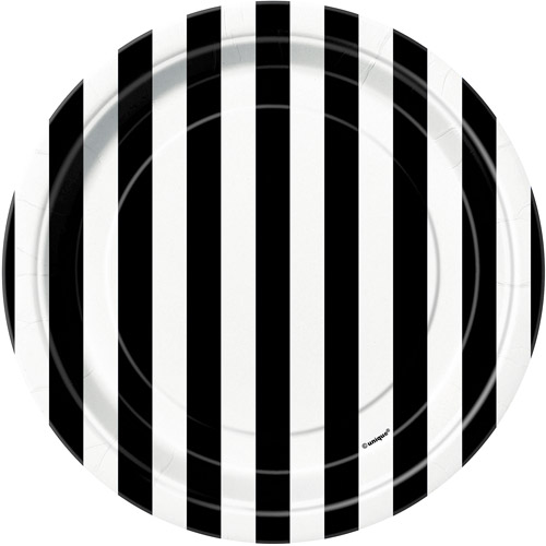 "7"" Black Striped Dessert Plates, 8pk"