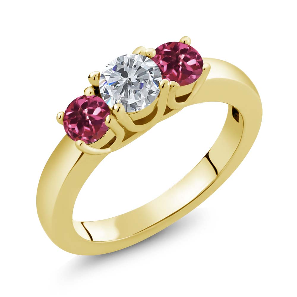 0.98 Ct Round G H Diamond Pink Tourmaline 18K Yellow Gold Plated Silver Ring by