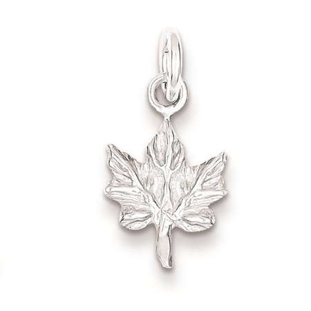 Maple Polished Leaf Solid 3-D Charm Pendant 17mmx11mm 925 Sterling Silver