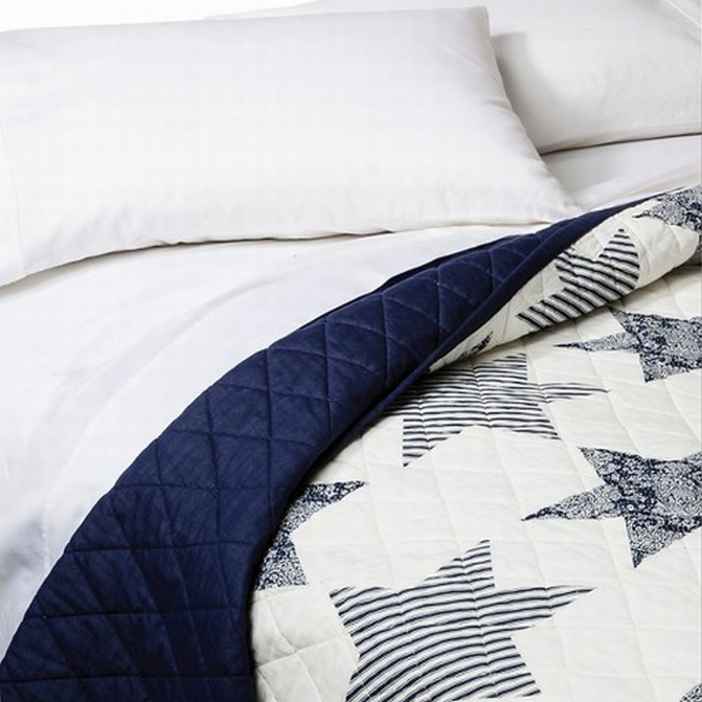 Threshold King Americana Blue Star Quilt Bed Comforter