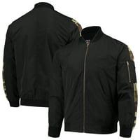 Chicago Bulls JH Design Camo Patch Bomber Jacket - Black