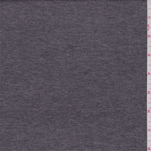 Heather Charcoal Cotton Blend T-Shirt Knit, Fabric By the Yard
