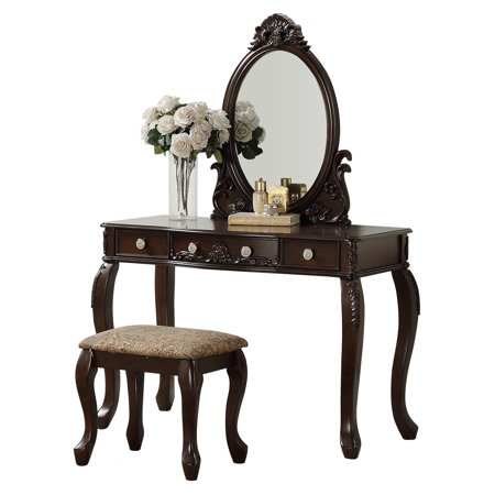 Espresso Finish Vanity - Bobkona Vanity table with stool set in Espresso