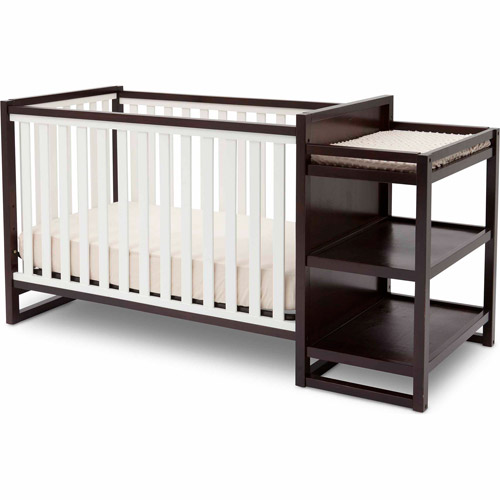 Delta Children Urban 4-in-1 Convertible Crib, White/ Dark Chocolate