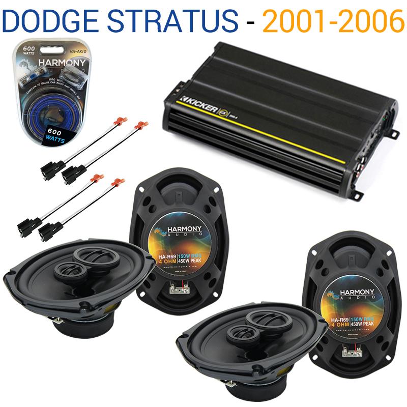 Dodge Stratus 2001-2006 Factory Speaker Upgrade Harmony (2) R69 & CX300.4 Amp - Factory Certified Refurbished
