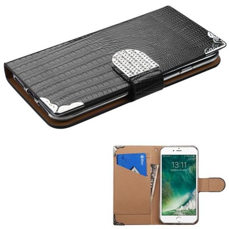 Skin Flaps (INSTEN  Leather Crocodile Skin Case Cover with Wallet Flap Pouch/ Diamond For Apple iPhone 7 )