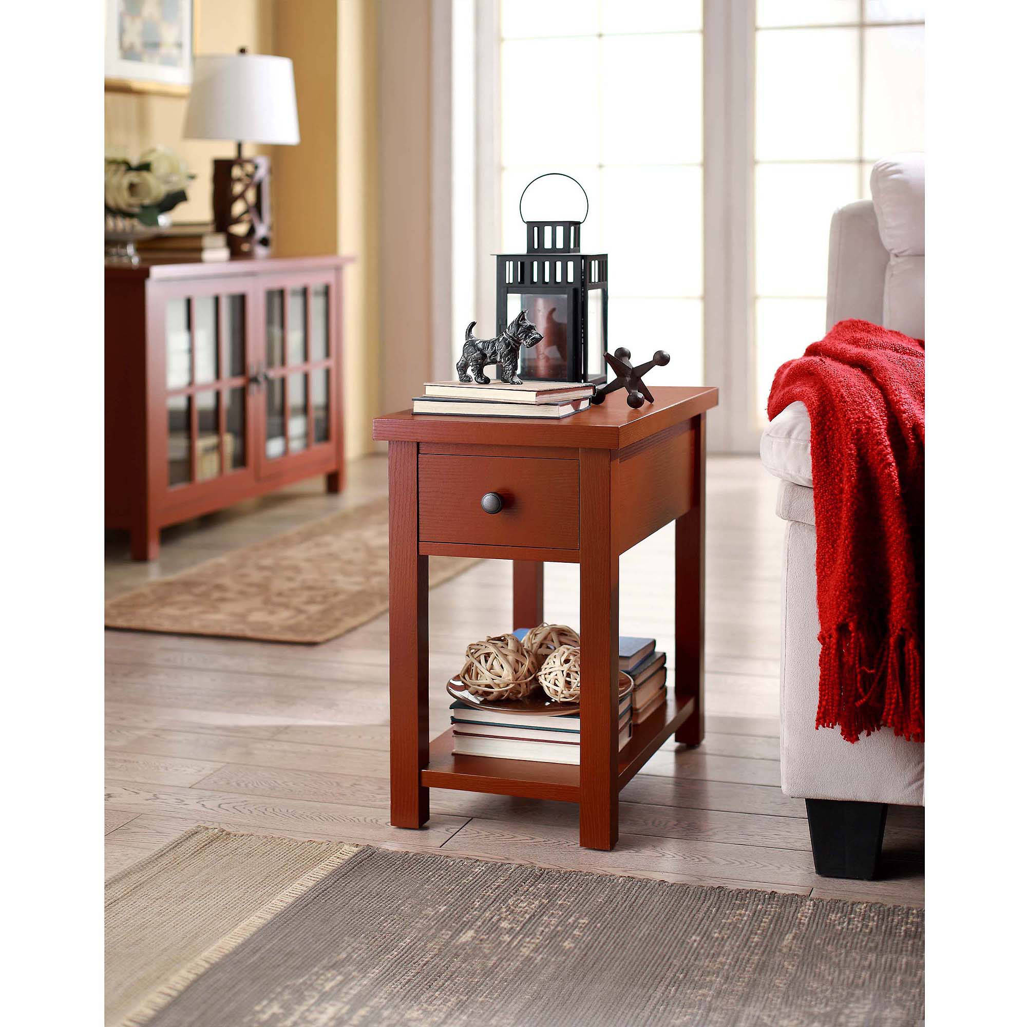 Better Homes and Gardens Oxford Square End Table with Drawer Red