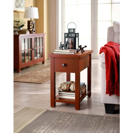 Better Homes & Gardens Oxford Square End Table With Drawer, Red ()