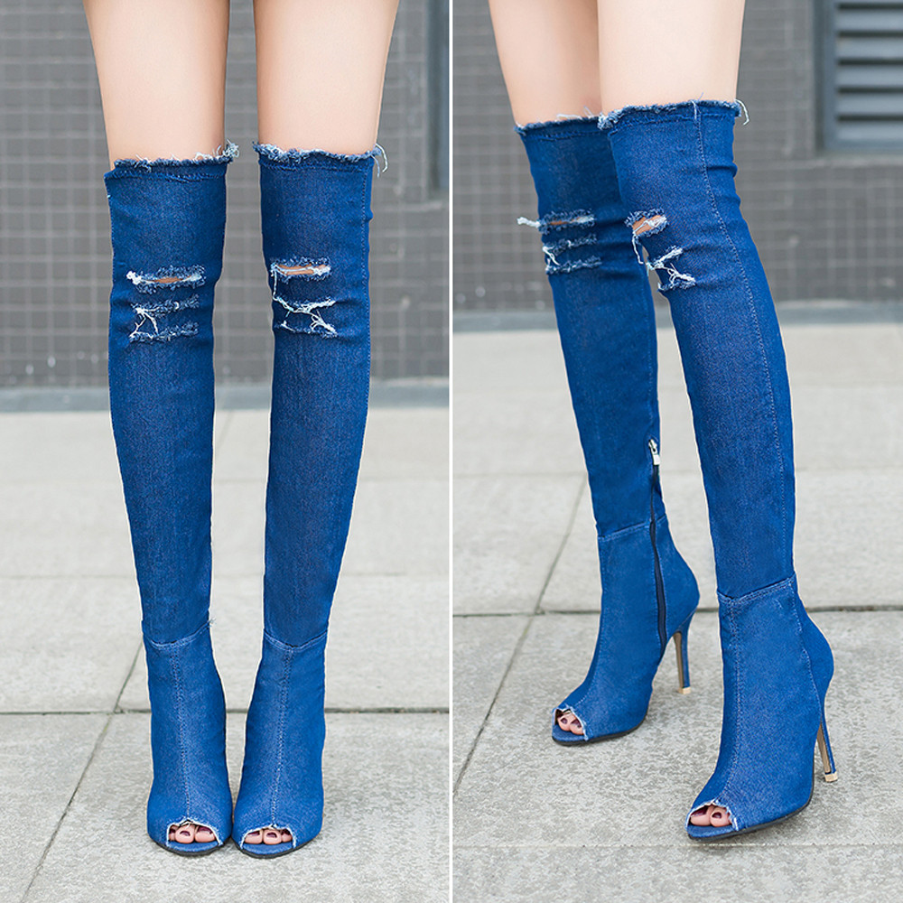 Women Denim Over Knee Boots Peep Thigh High Ladies Sexy H...