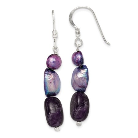 Roy Rose Jewelry Sterling Silver Amethyst and Purple Grey Freshwater Cultured Pearl Earrings