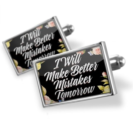 Cufflinks Floral Border I Will Make Better Mistakes Tomorrow - NEONBLOND