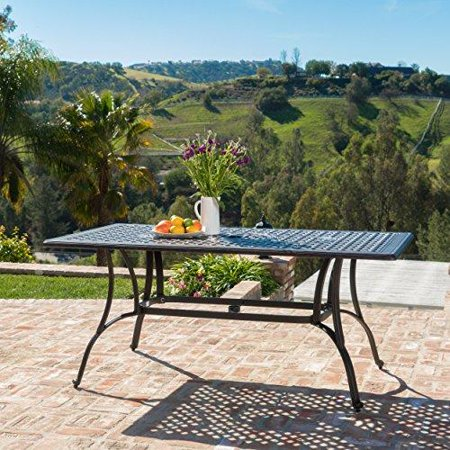 Fonzo Outdoor Bronze Cast Aluminum Rectangular Dining Table Only - Outdoor dining table only