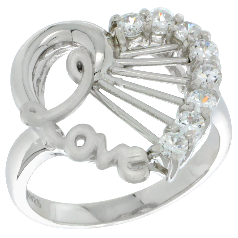 Sterling Silver LOVE Heart Ring CZ stones Rhodium Finished, 23/32 inch wide, sizes 5 - 8