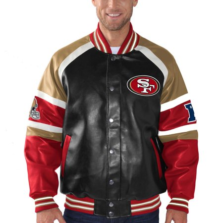 - San Francisco 49ers G-III Sports by Carl Banks Defense Pleather Varsity Jacket - Black - L
