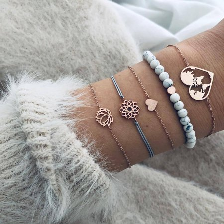 SEXY SPARKLES Stackable Bracelets Multilayer Boho Bracelet Sets Beads Metal Chain Rope Adjustabl Bracelets for Women Elastic Rope Charm Bangle Bracelet Best Women Teen Girls Gift Ecco Womens Charm