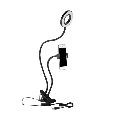 WALFRONT Portable Selfie Ring Light 360° Long Arm Table Holder LED Fill-in Light for Live Stream& Makeup, holder for live, desktop led light - Led Light Rings