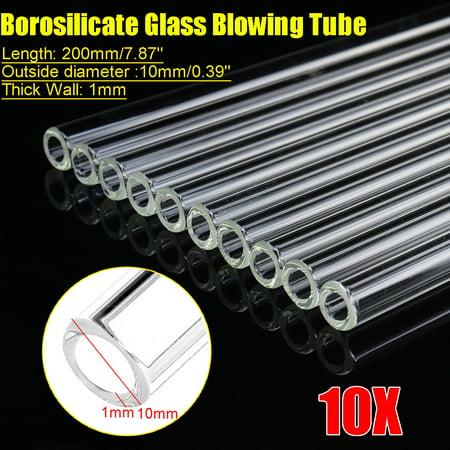 10Pcs Set 200mm OD 10mm 1mm Thick Wall Borosilicate Glass Blowing Tube - image 1 de 1