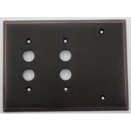 Classic Accents Oil Rubbed Bronze 3 Gang Wall Plate - 2 Push Button Switches 1 Blank