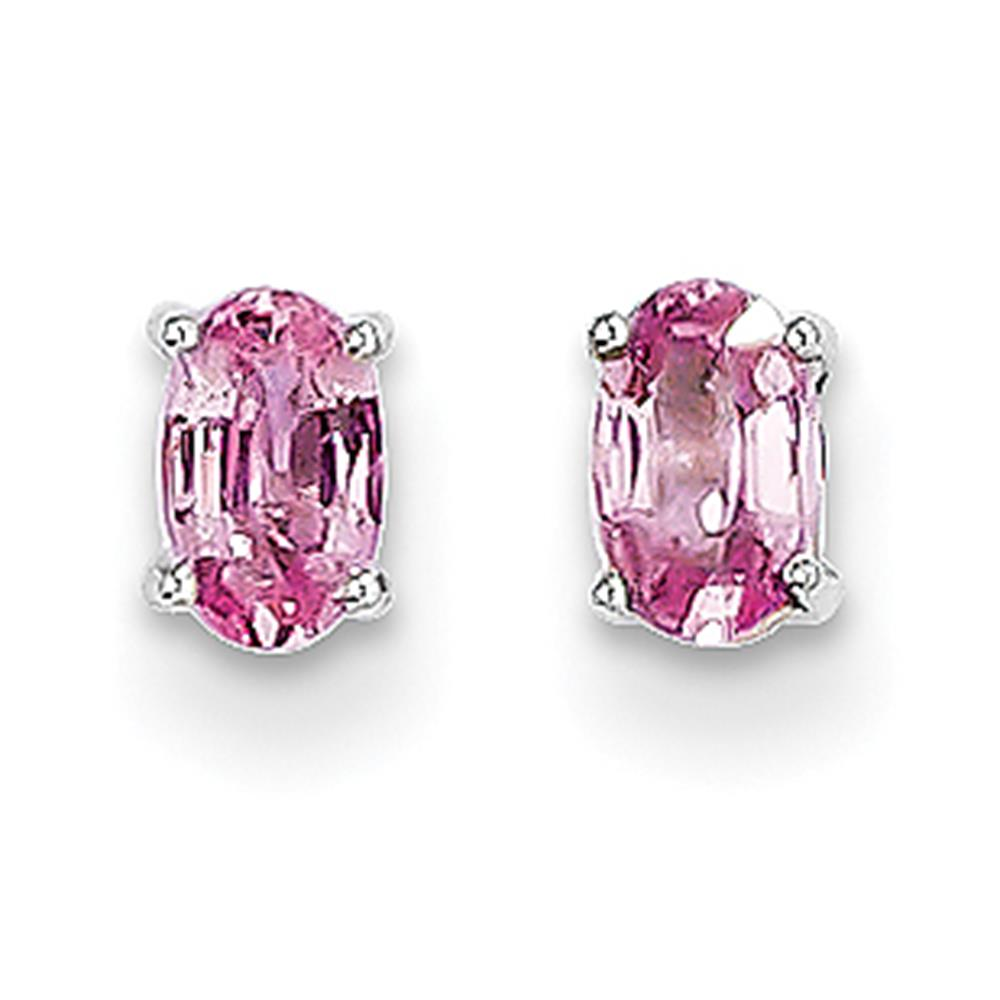 14k White Gold Polished 5mm x 3mm Oval Shaped Pink Sapphire Post Earrings