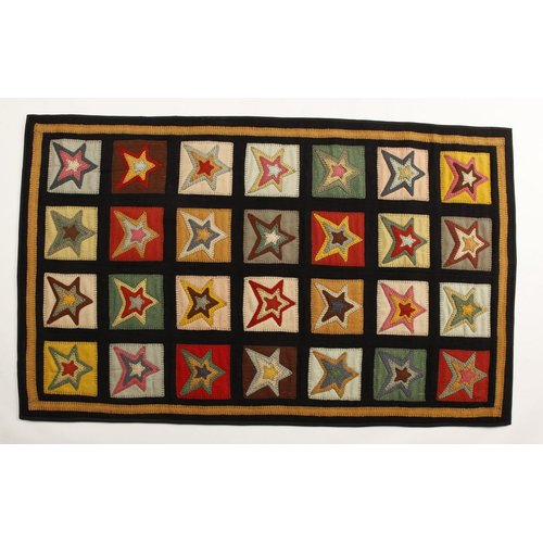 Homespice Decor Penny Star Patch Sampler Black Gold Area Rug