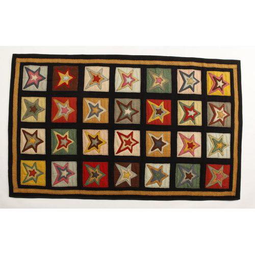 Homespice Decor Penny Star Patch Sampler Black Gold Area Rug