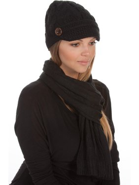 Product Image Sakkas Womens 2-piece Cable Knitted Visor Beanie Scarf and Hat  Set with Button - a55ddadcbd