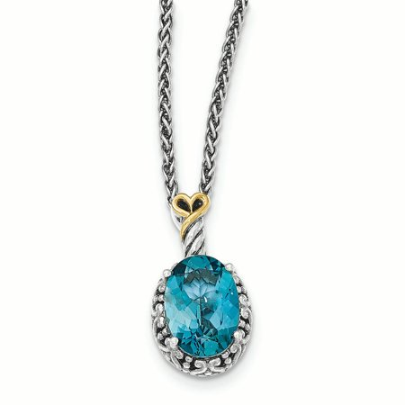 14k Gold Blue Topaz Necklace (14k Yellow Gold w/Sterling Silver London Blue Topaz Oval Necklace )