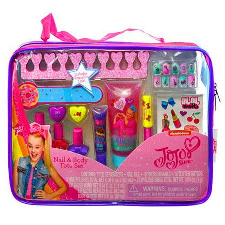 JoJo Siwa Girls Cosmetic Tote Bag Gift Set Kids Nail Polish Body Glitter