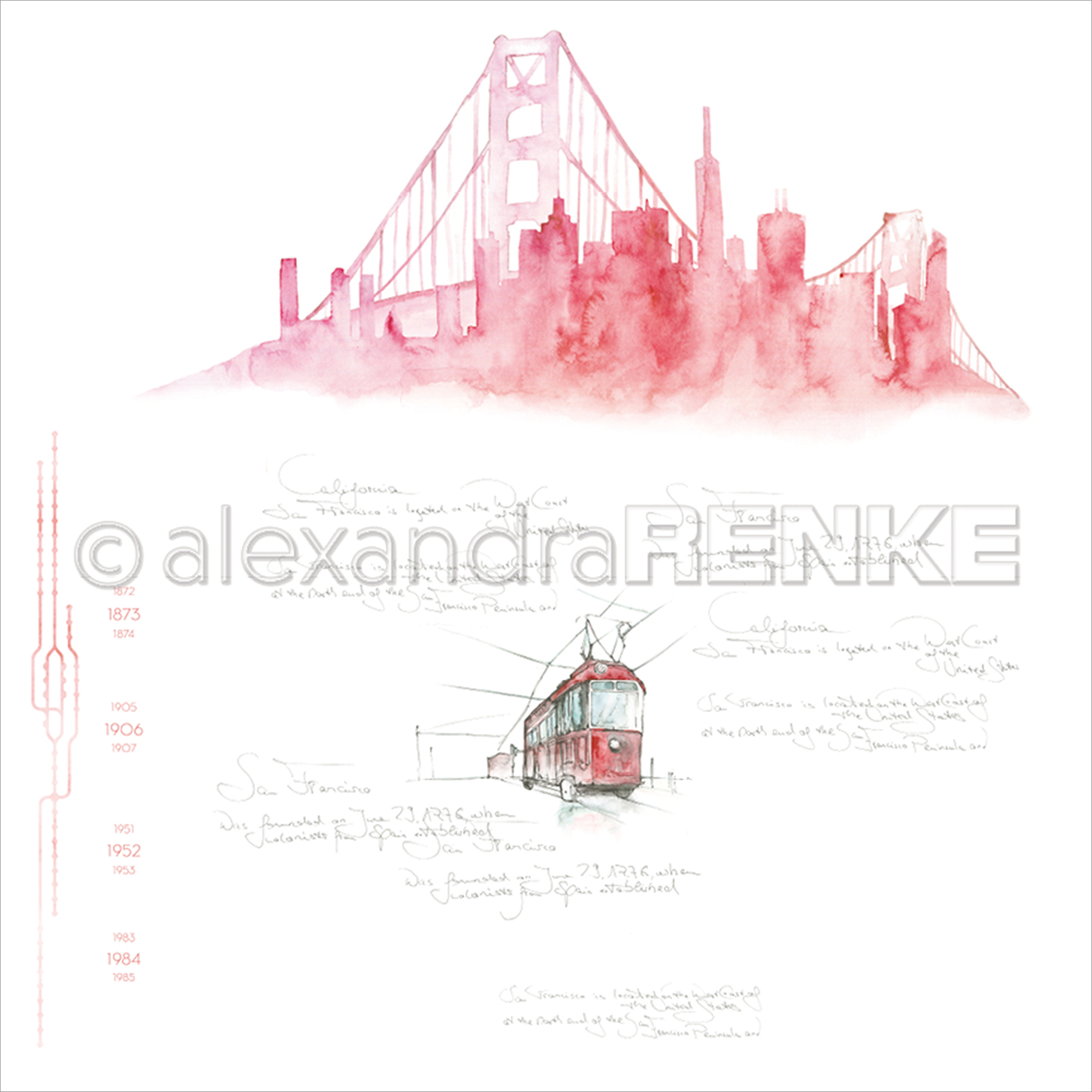 "Alexandra Renke Travel Design Paper 12""X12""-San Francisco Skyline"