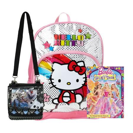 Hello Kitty Pink Silver School Backpack + Barbie DVD + Disney Olaf Bag - Kids Gift Set