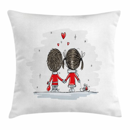 Love Throw Pillow Cushion Cover, Couple Holding Hands Winter Season Stars and Hearts Christmas Themed Cartoon, Decorative Square Accent Pillow Case, 18 X 18 Inches, Scarlet Cocoa Silver, by Ambesonne