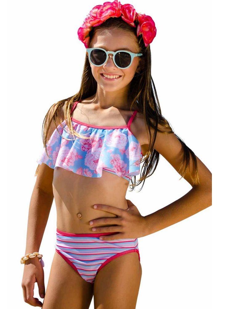 Sun Emporium Girls Coral Red Swing Top Action Back Bikini Set