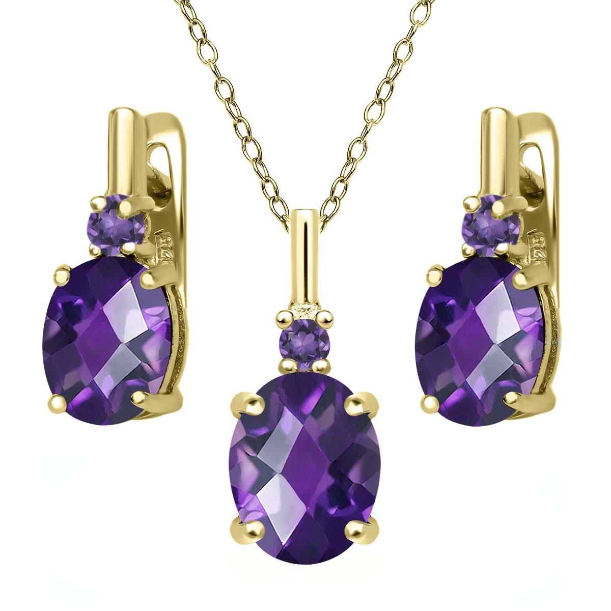 4.86 Ct Oval Checkerboard Purple Amethyst 18K Yellow Gold Plated Silver Pendant Earrings Set by