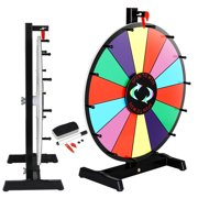 ZENY 18-inch Round Tabletop Color Prize Wheel 14 Clicker Slots Editable Fortune Design Carnival Spin Game